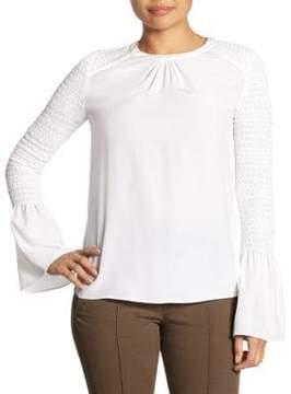 A.L.C. Sidra Flounced Bell Sleeve Silk Top