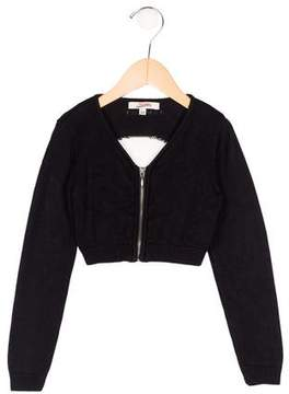 Junior Gaultier Girls' Cropped Long Sleeve Cardigan