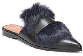 Franco Sarto Women's Palmer Ii Genuine Rabbit Fur Slide