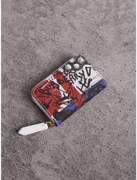 Burberry Doodle Print Coated Canvas Ziparound Coin Case - RED/BLUE - STYLE