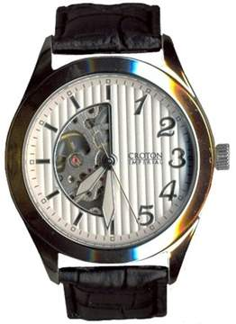 Croton Men's Silvertone Automatic with Patterned Dial with Skeleton and Leather Strap