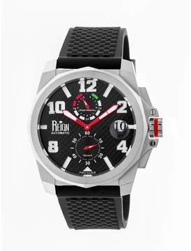 Reign Zhu Stainless Steel Case Black Carbon Fiber Dial Black Silicone Strap Men's Watch