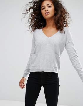 Esprit Espirit V Neck Pocket Detail Sweater