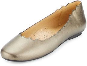 Neiman Marcus Seva Scalloped Leather Flat, Pewter