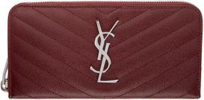 Saint Laurent Burgundy Quilted Monogram Zip Around Wallet - BURGUNDY - STYLE