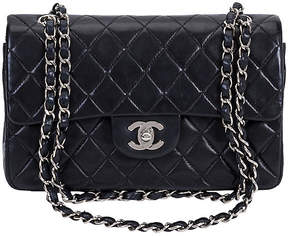 One Kings Lane Vintage Chanel Black & Silver Double Flap Bag - Vintage Lux