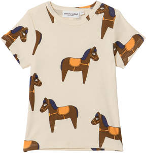 Mini Rodini Beige Yellow Detail Horse Short Sleeve T-Shirt
