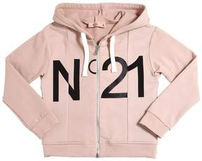 N°21 Hooded Logo Printed Cotton T-Shirt