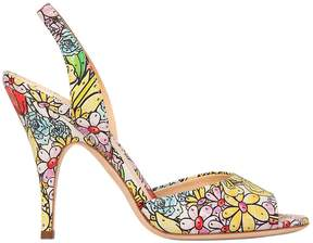 Moschino 100mm Floral Printed Leather Sandals