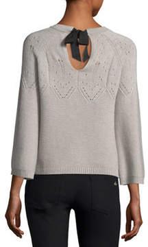 Autumn Cashmere Cashmere Tie-Back Boxy Pointelle Knit Sweater