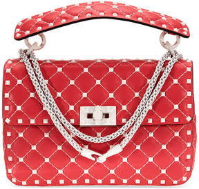 Valentino Rockstud Spike Medium Shoulder Bag- Red