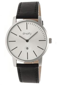 Simplify The 4700 SIM4701 Silver and Black Leather Analog Watch