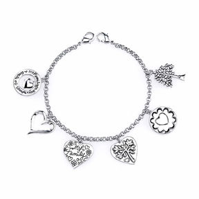 Footnotes Silver Over Brass Charm Bracelet