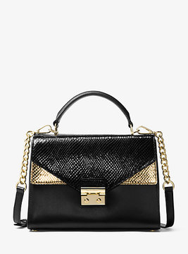 Michael Kors Sloan Embossed Leather Satchel - GOLD - STYLE
