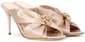 Oscar de la Renta Satin slip-on sandals
