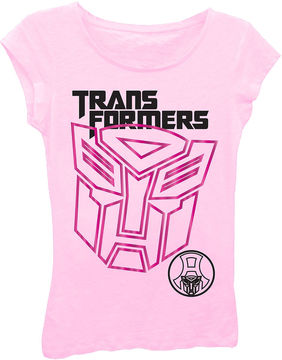 Asstd National Brand Transformers Girls' Giant Logo Short Sleeve Graphic T-Shirt with Pink Foil
