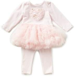Edgehill Collection Baby Girls Newborn-6 Months Tutu Heart Top & Leggings Set