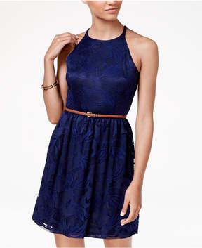 BCX Juniors' Belted Floral-Lace Halter Dress