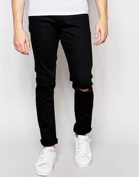 ONLY & SONS Black Slim Fit Jeans with Ripped Knee