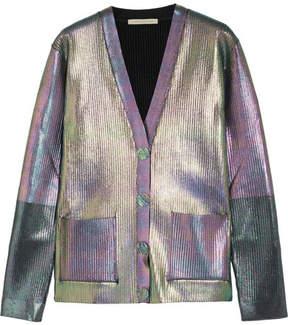 Christopher Kane Iridescent Ribbed Jersey Cardigan - Silver