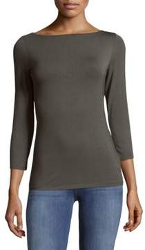 Saks Fifth Avenue BLACK Pullover Boatneck Top