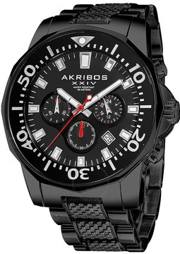 Akribos XXIV Akribos Conqueror Chronograph Black IP Stainless Steel Men's Watch