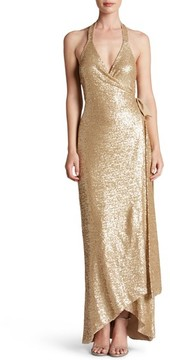 Dress the Population Women's Giselle Sequin Wrap Gown