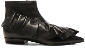 J.W.Anderson Leather Ruffle Booties in Black.