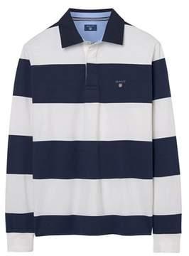 Gant Men's White/blue Cotton Polo Shirt.