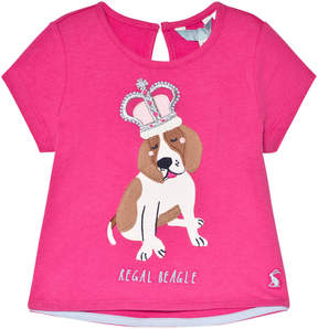 Joules Neon Pink Dog Applique T-Shirt