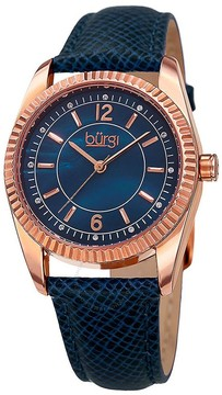 Burgi Blue Mother Of Pearl Dial Ladies Leather Watch