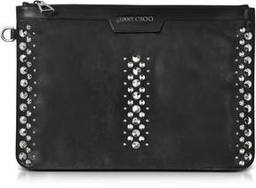 Jimmy Choo Derek Black Leather Clutch w/Punk Studs