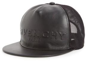 Givenchy Men's Leather Front Trucker Cap - Black