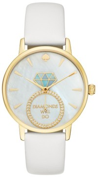 Women's Kate Spade New York Metro Wish Leather Strap Watch, 34Mm