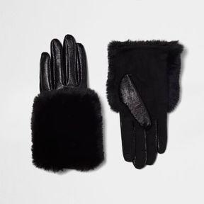 River Island Womens Black faux fur trim leather gloves
