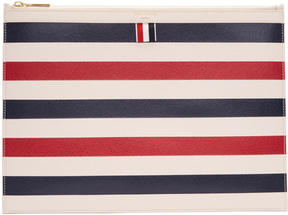 Thom Browne Tricolor Horizontal Stripes Medium Zipper Document Holder
