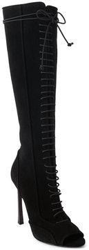 Giambattista Valli Black Tall Suede Peep Toe Boots
