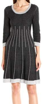 Nine West Women's 3/4 Sleeve Fit & Flare Sweater Dress