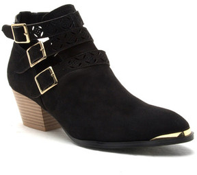 Qupid Travis Buckle Laser Cut Booties