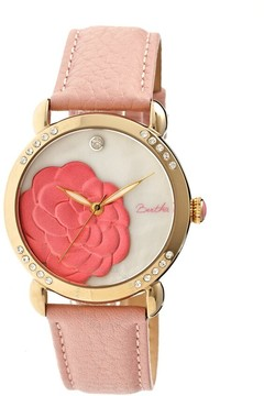 Mother of Pearl Bertha Daphne Flower Engraved Dial Gold-tone Steel Case Pink Leather Strap Ladies Watch