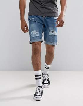 Pull&Bear Slim Denim Shorts With Rips In Mid Blue