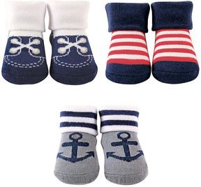 Luvable Friends Nautical Anchor Three-Pair Socks Set - Infant