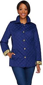 C. Wonder Water Resistant Quilted Barn Jacket with Printed Lining