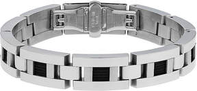 JCPenney FINE JEWELRY Mens Stainless Steel and Black Ion Link Bracelet