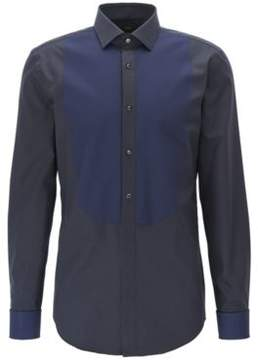 BOSS Hugo Two-Tone Tuxedo Shirt, Slim Fit Jant 14.5 Dark Blue