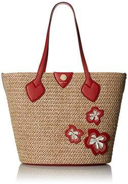 Anne Klein Straw Tote W/Flower Applique