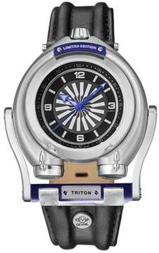Triton GV2 Gv2 Steel Case Black Dial With Blue Indexes Black Leather Strap Gv2 Watch.