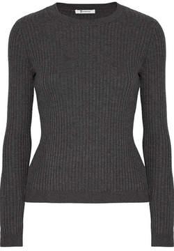 Alexander Wang Ribbed Merino Wool-blend Sweater - Charcoal