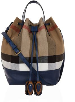 Burberry Heston Checked Bucket Bag - BLUE - STYLE