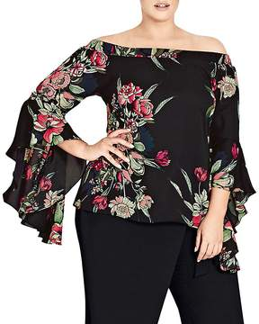 City Chic Misty Floral Off-the-Shoulder Top
